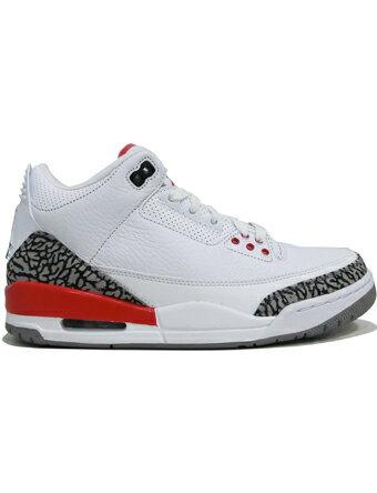 """バスケットシューズ バッシュ スニーカー ジョーダン ナイキ Jordan Air Jordan 3 Retro """"Katrina"""" Wht/F.Red/C.Gry ストリート"""