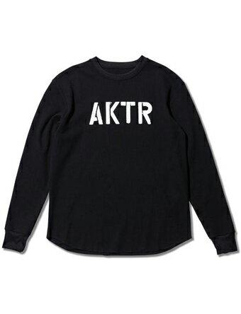 バスケットロング Tシャツ ウェア アクター AKTR STENCIL WAFFLE L/S TEE BK Blk 【MEN'S】