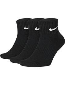 バスケットソックス ウェア ミッドクルーソックス ナイキ Nike Everyday Cushion Quater Socks 3PK Blk ランニング トレーニング ストリート