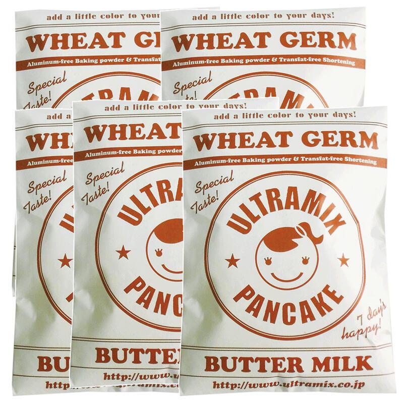 【送料無料】ウルトラミックス北海道産バターミルク小麦胚芽入りパンケーキミックス200g×5袋セット  ホットケーキミックス ホットケーキ パンケーキ 小麦胚芽 トランス脂肪酸フリー アルミフリー膨張剤使用