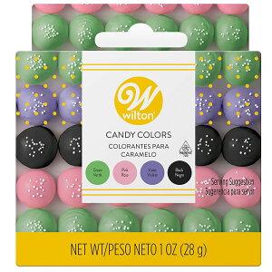 WILTON (ウィルトン)ガーデンキャンディカラーセット(グリーン ピンク バイオレット ブラック)/チョコレート用 色素 着色 デコレーション キャンディメルツ