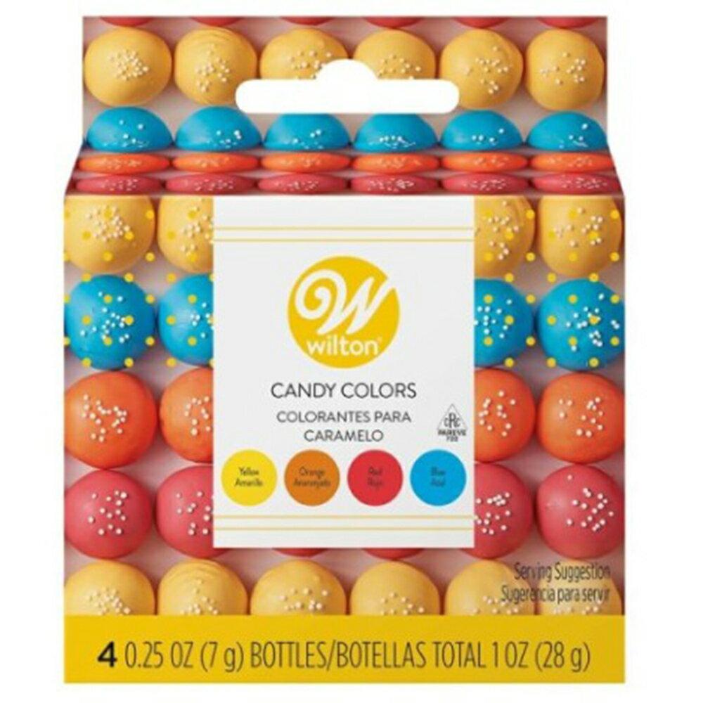 WILTON (ウィルトン)プライマリーキャンディカラーセット (イエロー オレンジ レッド ブルー )/チョコレート用 色素 着色 デコレーション キャンディメルツ