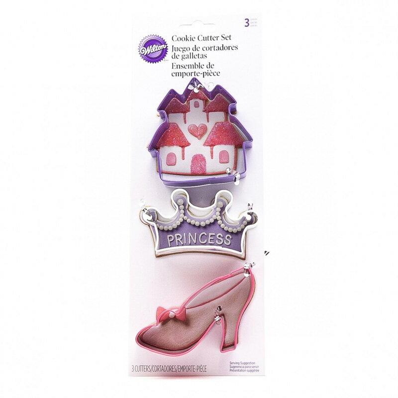 WILTON(ウィルトン) プリンセス3pcカッターセット(クッキー抜き型) 城 王冠 ハイヒール 靴 キャッスル キング お姫様 プリンセス 3個セット 製菓材料