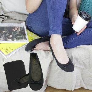 携帯ルームシューズ 携帯スリッパ フォーマル ブラック コンパクト収納 外靴用バッグ付き レ プリエ バトゥ 携帯スリッポン ブラック S 22.0〜23.0cm /M 23.0〜24.0cm /L 24.0〜25.0cm 収納ポーチ付