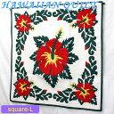 【Hawaiian Quilt】ハワイアンキルト タペストリースクエアL・ビッグハイビスカスホワイトグリーンレッド【ハワイアンキルト】【ハワ…