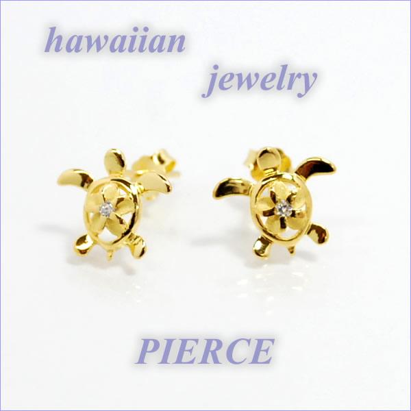 ハワイアンジュエリー【ピアス】ワンポイントホヌプルメリア・ゴールド/pieac-46ジュエリー
