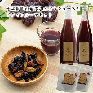[販売期間外39]千葉農園の無添加ぶどうジュースとドライフルーツセット(720ml×2本入・35g×2袋)[化粧箱入]