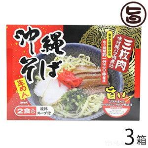 沖縄そば2食入り(箱) 味付豚ばら肉煮込み入×3箱 沖縄 人気 琉球料理 定番 土産 条件付き送料無料