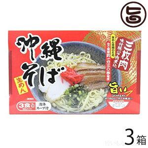 沖縄そば3食入り(箱) 味付豚ばら肉煮込み入×3箱 沖縄 人気 琉球料理 定番 土産 条件付き送料無料