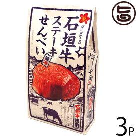 大藤 石垣牛 ステーキ風味せんべい 80g×3P 沖縄 土産 お菓子 さくさく スナックせんべい 条件付き送料無料