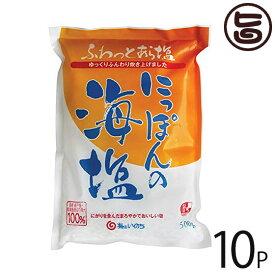 株式会社 菱塩 海はいのち にっぽんの海塩 500g×10P 長崎県崎戸島周辺の海水100% 平釜炊き フレーク状 条件付き送料無料