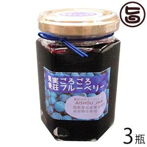 あいしょうアグリ 果実ごろごろ 愛荘ブルーベリージャム 150g×3瓶 滋賀県産ブルーベリー使用 無添加 保存料不使用 条件付き送料無料