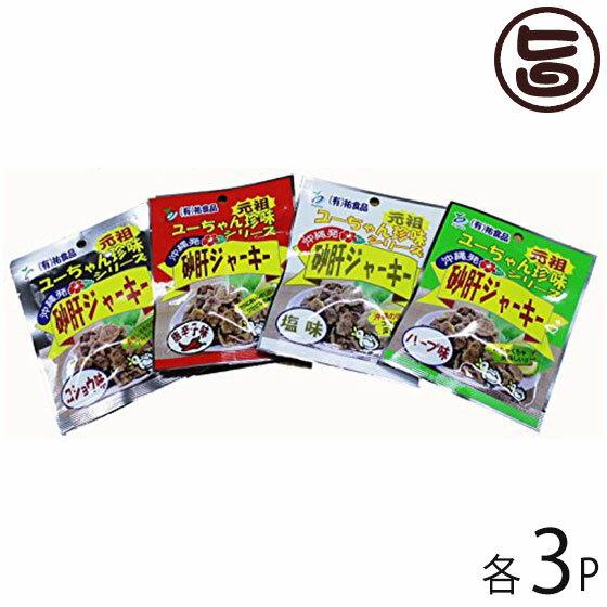 砂肝 ジャーキー13g 4種×各3袋セット 送料無料 沖縄 人気 土産 おつまみ 珍味