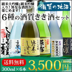 """【送料無料】""""色んな酒質が入って大満足!""""滋賀の地酒5蔵飲み比べ300ml×6本セット"""