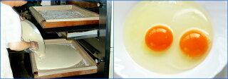 """こだわりは「昔ながらの手焼き」と「最高の素材」。長崎県""""雲仙普賢岳""""ふもとの専門農場から一日に限られた量しか入手できない卵黄濃度の高いカステラ専用の鶏卵や、最高級のザラメ糖など厳選した材料を使用"""