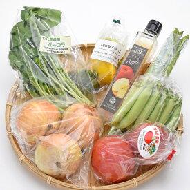 南信州のとれたて産直便 ココロマルシェ 季節の農産物(6種)とレストランドレッシング詰合せ VFF50#602
