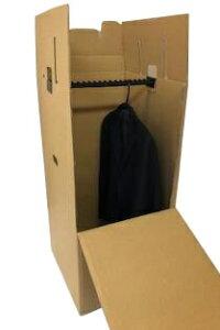 引越・保管用ハンガーボックス(テープ不要/組み立て式) K5Wダブル構造 |ダンボール 段ボール 衣装収納 ハンガーケース 梱包 箱 衣類 ボックス