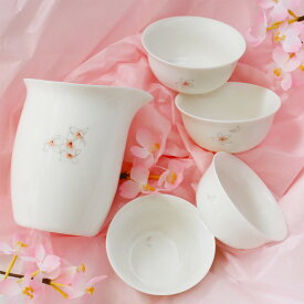 サクラの茶杯と茶海セット(茶杯4点・茶海1点入り)
