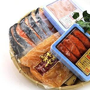 豪華 海鮮セット 4種類(味付け明太数の子、厚切り銀鮭、明太子、たらこ) 詰め合わせ【送料無料】※代金引換不可 F