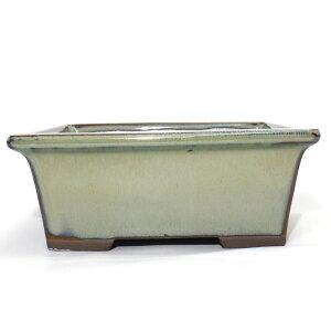 盆栽鉢 5号 長角反鉢 緑色 織部釉 四日市萬古焼 送料無料