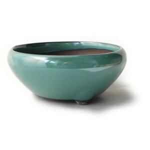 盆栽鉢 3号 鉄鉢 緑色 織部釉 瀬戸焼 送料無料
