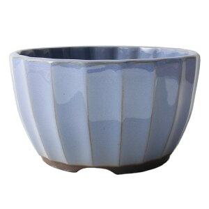 盆栽鉢 4号 菊型小鉢 水色 均窯釉 瀬戸焼 送料無料