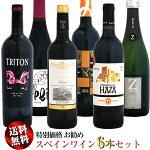 【送料無料】特別価格お勧めスペインワイン6本セット