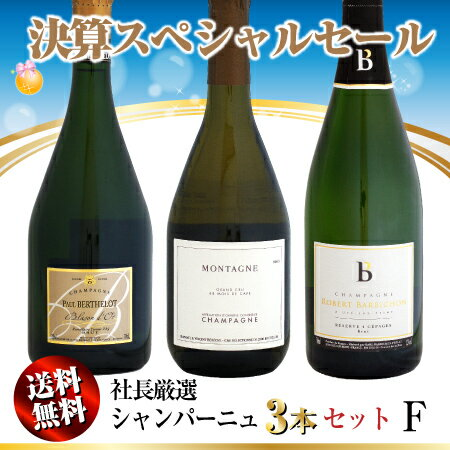 【決算セール】送料無料 社長厳選 シャンパーニュ 3本セット F