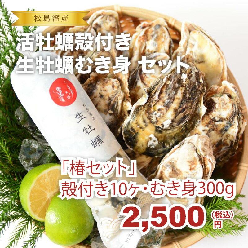 ★松島湾産牡蠣 椿セット 殻付き牡蠣10ヶ・生牡蠣むき身300g★