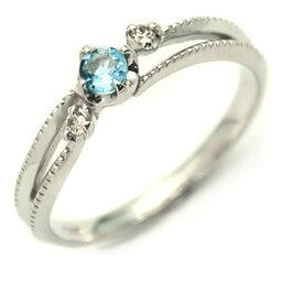 K18 サンタマリアアクアマリン ダイヤモンド リング 「cresta」 指輪 ゴールド 18K 18金 アクワマリン ダイアモンド ミル打ち 誕生日 4月誕生石 刻印 文字入れ メッセージ ギフト 贈り物 ピンキーリング対応可能
