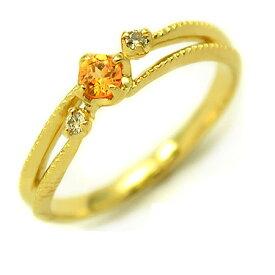 K18 マンダリンガーネット ダイヤモンド リング 「cresta」 指輪 ゴールド 18K 18金 ダイアモンド ミル打ち 誕生日 1月誕生石 刻印 文字入れ メッセージ ギフト 贈り物 ピンキーリング対応可能
