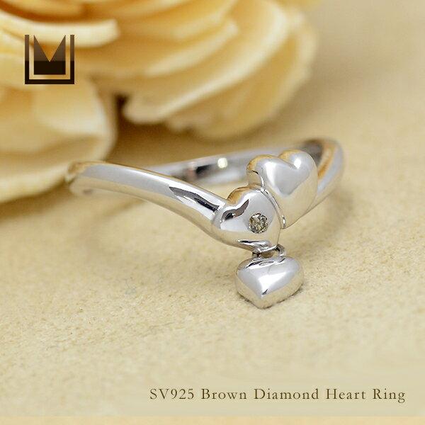 【即日発送可能】【12号】SV925 ブラウンダイヤモンド ハート リング