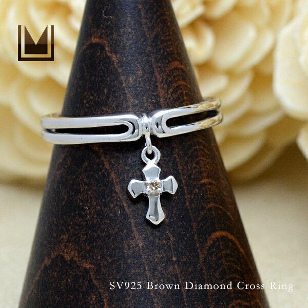 【即日発送可能】【12号】SV925 ブラウンダイヤモンド クロス リング
