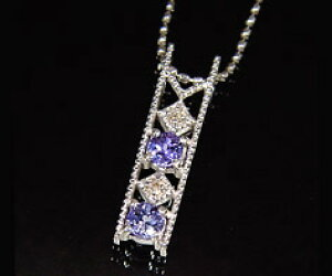 K18 タンザナイト ダイヤモンド ペンダントトップ 「blonda」ネックレス 18K 18金 ゴールド ブルーゾイサイト ダイアモンド ミル打ち 誕生日 12月誕生石 記念日 メッセージ ギフト 贈り物