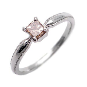 【200円クーポン配布中】K18 プリンセスカットブラウンダイヤモンド 0.33ct リング 「nastro」 指輪 ゴールド 18K 18金 ダイアモンド 誕生日 4月誕生石 刻印 文字入れ メッセージ ギフト 贈り物 ピ