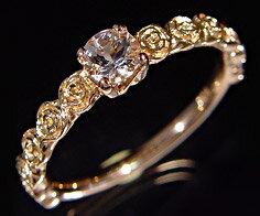 K18 モルガナイト バラモチーフ リング 「rosa」送料無料 指輪 ゴールド 18K 18金 薔薇 ローズ 花 刻印 文字入れ メッセージ ギフト 贈り物 ピンキーリング対応可能