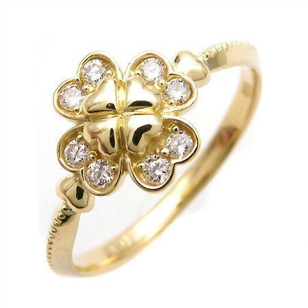 K18 ダイヤモンド クローバー リング 「lieto」送料無料 指輪 ゴールド 18K 18金 ダイアモンド 四つ葉 ハート 誕生日 4月誕生石 刻印 文字入れ メッセージ ギフト 贈り物 ピンキーリング対応可能