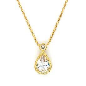 ペンダントトップ ブルームーンストーン ダイヤモンド 「goccia」 ゴールド K18 送料無料