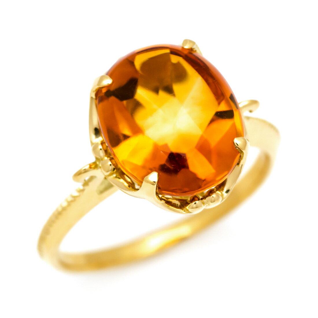 K18 シトリン リング 「caramella」送料無料 指輪 ゴールド 18K 18金 カボッションカット 誕生日 11月誕生石 刻印 文字入れ メッセージ ギフト 贈り物 ピンキーリング対応可能