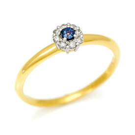 【Xmas限定/クリスマス限定】PT900 K18 アレキサンドライト ダイヤモンド リング「notte」 指輪 ゴールド 18K 18金 プラチナ900 コンビ ミックス 刻印 文字入れ メッセージ ギフト 贈り物 ピンキーリング対応可能
