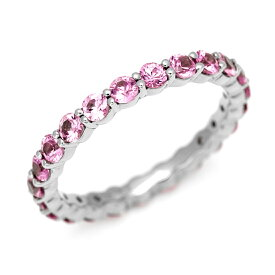 K18 ピンクサファイア 1.8ct フルエタニティリング 指輪 サファイヤ コランダム フルエタニティー 18K 18金 ゴールド 誕生日 9月誕生石 結婚記念日 結婚45周年 サファイア婚式 刻印 文字入れ メッセージ ギフト 贈り物