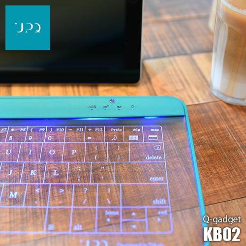 UPQ/アップ・キュー Q-gadget KB02 無線(Bluetooth)/有線両対応 美しく未来感あふれるガラス製タッチパネル式キーボード&タッチパッド Win/Mac両対応 お掃除用クロス付き