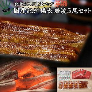 うなぎ 鰻 国産 蒲焼 ギフト プレゼント 紀州備長炭焼 120g×5セット ての字 化粧箱入り 手焼き