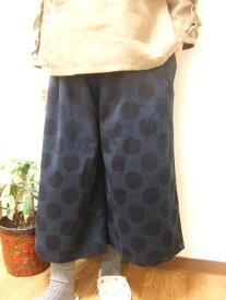 【秋冬限定】【大きいサイズ2L〜3L】ドットプリント・コーデュロイ(コール天)・ガウチョパンツ・(ポケット付き)(ダークブルー・クロ)(日本製)