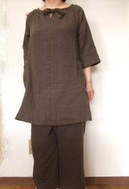 *【大きいサイズ2L〜3L】ダブルガーゼ7分袖チュニック・スーツ(ルームウエアー)(8色)パンツ丈選択可(日本製) 【fsp2124】