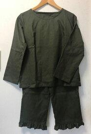 【大きいサイズ2L〜3L】ピーチ起毛ビエラTスーツ(長袖Tシャツ+フリルパンツ)(6色)パンツ丈選択可(日本製)