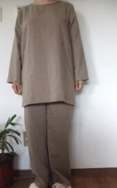 【M〜L】ダブルガーゼTスーツ(ロング長袖Tシャツ+パンツ)(8色)パンツ丈選択可(日本製)