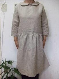 【M〜L】 リネン・7分袖rローウエスト襟付き・ワンピース(4色)【smtb-k】【w1】