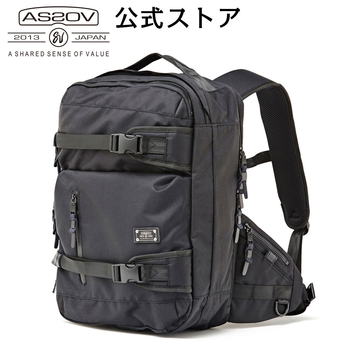 【AS2OV公式通販】 AS2OV (アッソブ) CORDURA DOBBY 305D 3WAY BACK PACK S BLACK / バックパック 061405