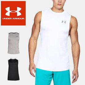 ☆ネコポス アンダーアーマー メンズ タンクトップ ノースリーブシャツ 袖なし UA MK-1 スリーブレス ヒートギア フィッティド 野球 トレーニング 吸水速乾 抗菌防臭 軽量 1306433 UNDER ARMOUR あす楽